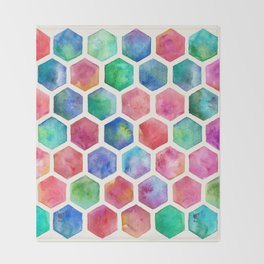 Hand Painted Watercolor Honeycomb Pattern Throw Blanket