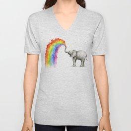 Baby Elephant Spraying Rainbow Whimsical Animals Unisex V-Neck