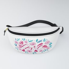 Love and flowers - pink and turquoise Fanny Pack