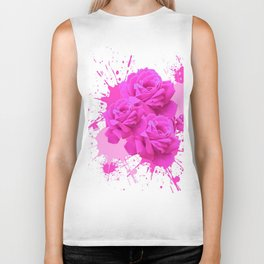 CERISE PINK ROSE PATTERN WATERCOLOR SPLATTER Biker Tank
