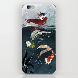 """Catfish"" - cute fantasy cat mermaids illustration iPhone Skin"