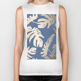 Simply Tropical Palm Leaves White Gold Sands on Aegean Blue Biker Tank