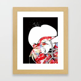 Woman wears a traditional kimono, Body tied by rope, Shibari, Japanese BDSM art, Fashion illusration Framed Art Print