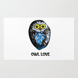 Owl Love Rock Painting on River Rock by annmariescreations Rug