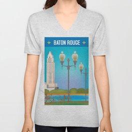 Baton Rouge, Louisiana - Skyline Illustration by Loose Petals Unisex V-Neck