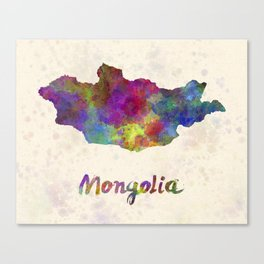 Mongolia in watercolor Canvas Print