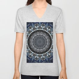 Dark Blue Grey Mandala Design Unisex V-Neck