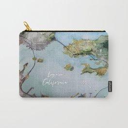 SF, San Francisco, Oakland, Bay Area, California Watercolor Map Art Carry-All Pouch