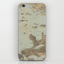 Vintage Pictorial Map of Boston Harbor (1879) iPhone Skin