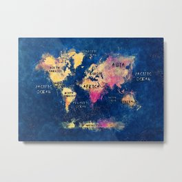 world map oceans and continents 2 Metal Print