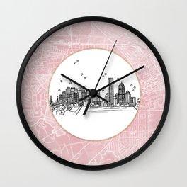 Boston, Massachusetts City Skyline Illustration Drawing Wall Clock