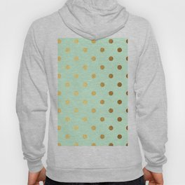 Gold polka dots on mint background - Luxury pattern Hoody