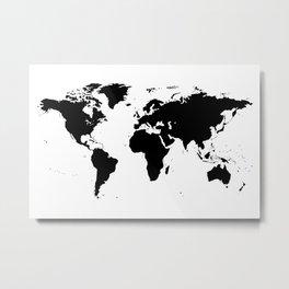 Black Ink World Map Metal Print
