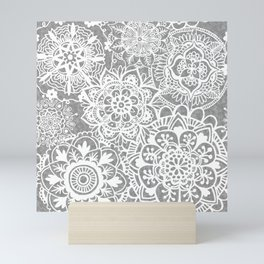 Soft Grey Mandala Pattern Mini Art Print