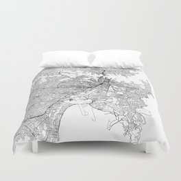 Sydney White Map Duvet Cover