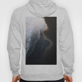 Waves on Black Sand Beach during Sunset in Iceland Hoody