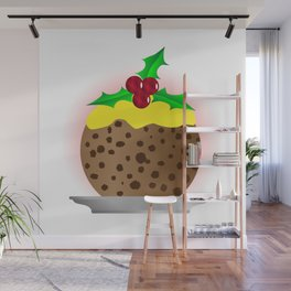 Christmas Pudding With Custard And Holly Sprig Wall Mural
