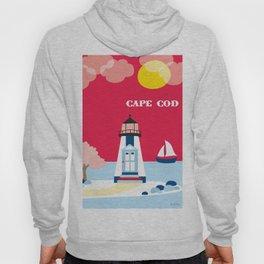 Cape Cod, Massachusetts - Skyline Illustration by Loose Petals Hoody