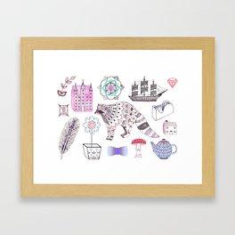 Raccoon, Castle + Ship Framed Art Print