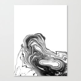 Suki - spilled ink black and white minimal modern painting wave water swirl marble marbled pattern Canvas Print