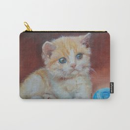 Little kitten playing with ball Cute red tabby cat portrait Oil painting on canvas Carry-All Pouch