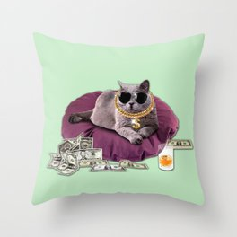GANGSTA CAT Throw Pillow