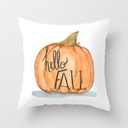 Hello fall pumpkin Throw Pillow