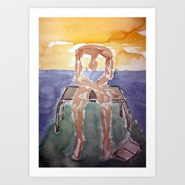 Fan art: melancholy sculpture with dropped open book in sunset Art Print