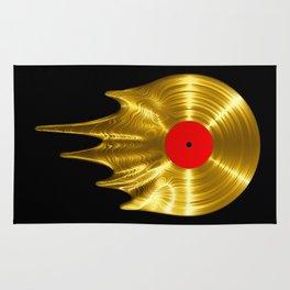 Melting vinyl GOLD / 3D render of gold vinyl record melting Rug