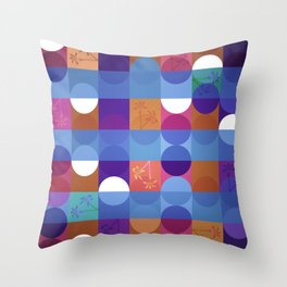 Game of circles with flowers Throw Pillow