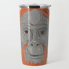 Unflanged Male Orangutan Drawing Travel Mug