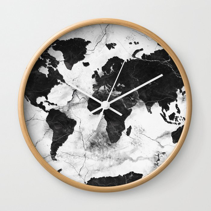 World map marble 3 wall clock by bekimart society6 gumiabroncs Image collections
