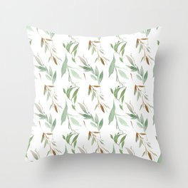 Pastel green brown watercolor hand painted leaves Throw Pillow