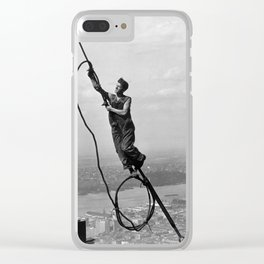 Lewis Hine - Icarus, Empire State Building, 1930 Clear iPhone Case
