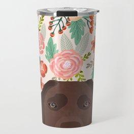 Chocolate Lab florals dog breed portrait pet art dog lover gifts labrador retriever Travel Mug