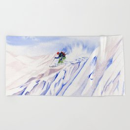 Powder Skiing Beach Towel