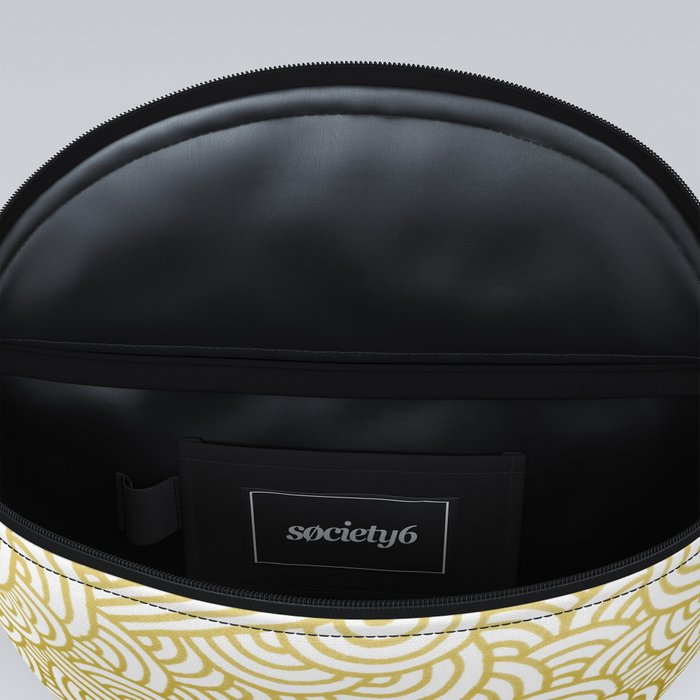 Gradient yellow and white swirls doodles Fanny Pack