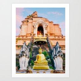 Chedi Luang Temple in Chiang Mai Fine Art Print Art Print