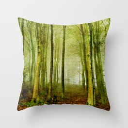 Foggy fall in forest Throw Pillow