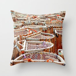 Traditional Lobster Traps Throw Pillow
