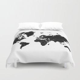 Minimalist World Map Black on White Background Duvet Cover