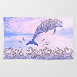 dolfin above the waves Rug