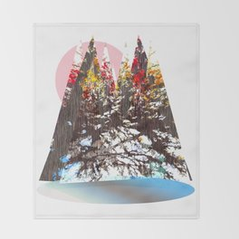 """Trees, Mountains, Flowers, Sun Vector Illustration V2"" Throw Blanket"