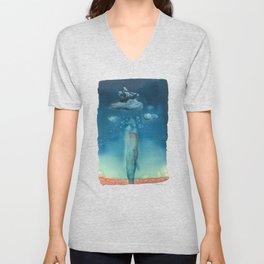 Moby Dick Dreams - Watercolor - Sperm Whale Unisex V-Neck