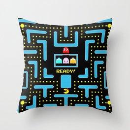 pac-man blue Throw Pillow