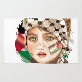 Free Palestine in watercolor Rug