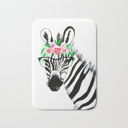 Zebra with glasses and flowers Bath Mat