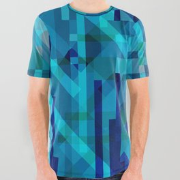 abstract composition in blues All Over Graphic Tee