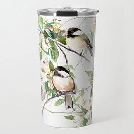 Chickadees and Dogwood Flowers Travel Mug