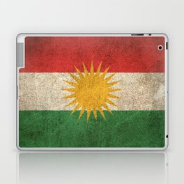 Old and Worn Distressed Vintage Flag of Kurdistan Laptop & iPad Skin